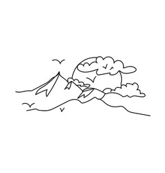 Doodle mountain landscape sun behind the vector