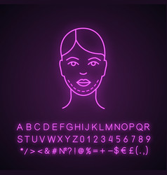 Double chin surgery neon light icon vector