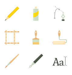 Drawing tools icons set cartoon style vector