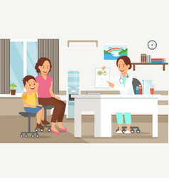 examination by pediatrician vector image
