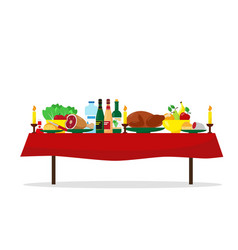 Family holiday or christmas dinner table vector