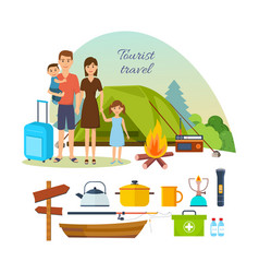 Family of tourists with luggage engaged in hiking vector