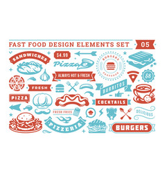 fast food and street signs and symbols with retro vector image