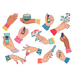 female hands with manicure woman painting nails vector image