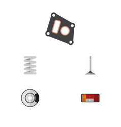 flat parts set of crankshaft metal headlight and vector image