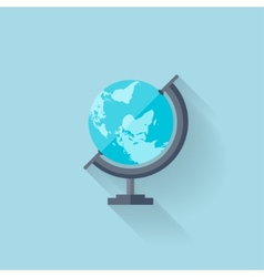 Flat school geographical earth globe vector image