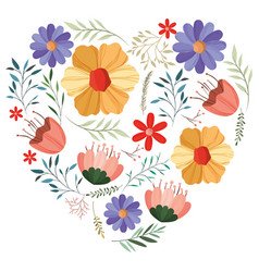 flowers and leafs garden with heart shape vector image