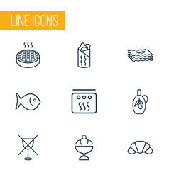 food icons line style set with shawarma no vector image