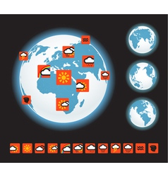 Forecast icons and Earth template vector image