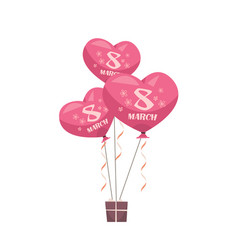 Gift box with pink air balloons womens day 8 march vector