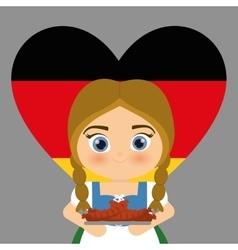 Girl cartoon costume traditional heart flag icon vector image