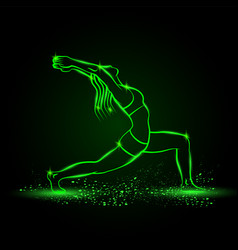 girl practices yoga in warrior one pose vector image