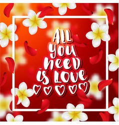 Hand drawn calligraphy all you need is love vector