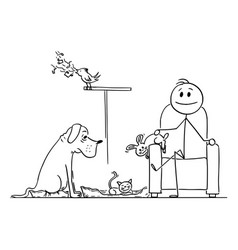 happy man sitting in chair surrounded his pets vector image