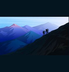 hiking and camping concept silhouette tourists vector image
