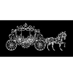 Horse carriage silver silhouette vector image