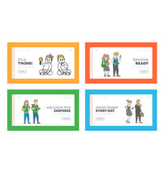 Human age characters lifecycle landing page vector