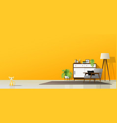 Interior background of modern living room vector