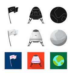 isolated object of mars and space icon collection vector image