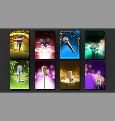 karaoke poster template blank set old bar vector image