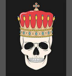 king skull with crown isolated on black vector image