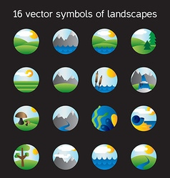 Landscape icons collection Nature symdols vector image