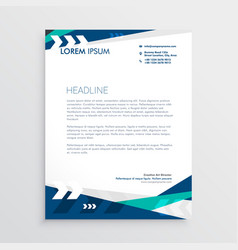 Letterhead design with blue geometric shapes and vector