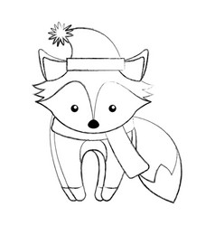 Line icon christmas fox cartoon vector