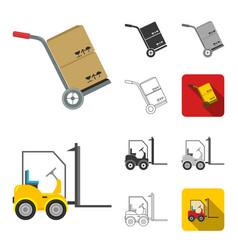 Logistics service cartoonblackflatmonochrome vector