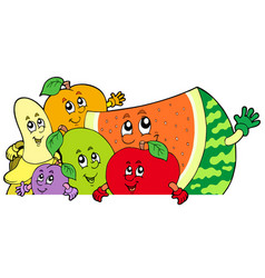 lurking cartoon fruits vector image