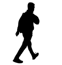 Man silhouette walking with backpack vector