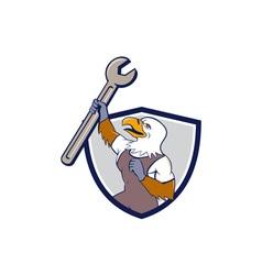 Mechanic Bald Eagle Spanner Crest Cartoon vector