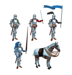 Medieval warriors icons vector