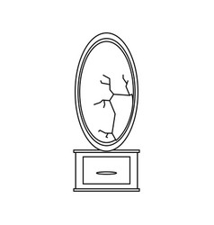 mirror and dressing table vector image