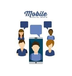 mobile social media design vector image