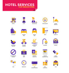 modern material flat design icons - hotel services vector image