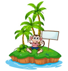 Monkey and island vector image