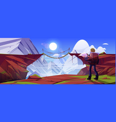 Mountain landscape with hiker man and bridge vector