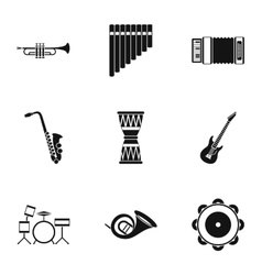 Musical tools icons set simple style vector