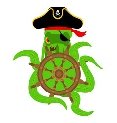 Octopus pirate and handwheel poulpe buccaneer and vector