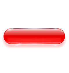 Oval glass button red 3d shiny blank push button vector