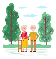 People stroll together in park old couple on walk vector