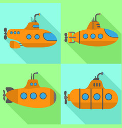Periscope submarine icons set flat style vector