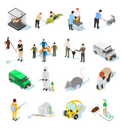 Pest control isometric icons vector