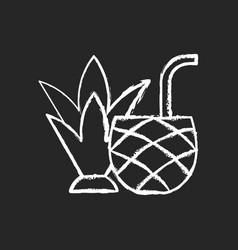 Pina colada chalk white icon on black background vector