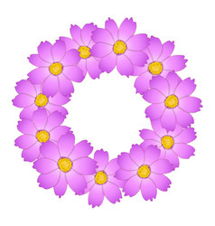 Pink cosmos flower wreath vector
