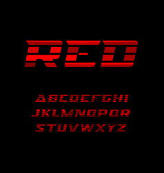 red sports font wide letters with dynamical vector image