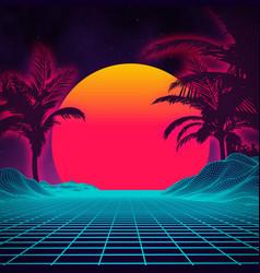 Retro background futuristic landscape with palm vector