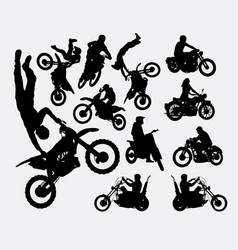 riding motocross and vintage motorcycle silhouette vector image