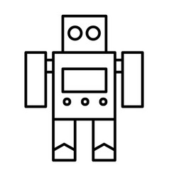 Robot toy thin line icon cyborg vector